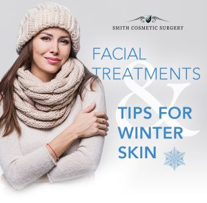 Facial treatments and tips for healthy winter skin graphic with attractive woman